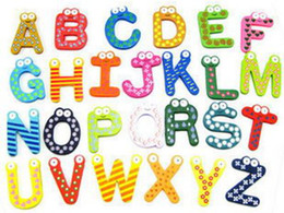 Cartoon Early educational toys  magnetic stickers   26 wooden alphabet fridge magnets 26in1