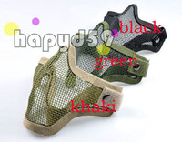 Wholesale Half Face Mesh Airsoft Mask Paintball mask steel mesh hole face masks