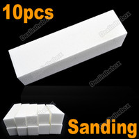 Christmas Sand Surface Sponge White Professional High quality 10pcs White Buffer Block Acrylic Nail Art Sponge Tips Sanding Files #2431