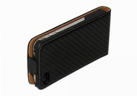Wholesale Newest Carbon Fiber design Seats lines Flip Leather Hard Case back Cover for iPhone S black White
