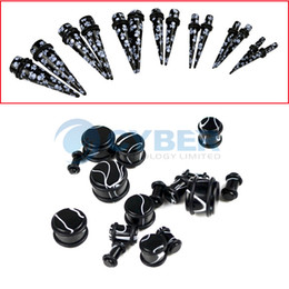 Wholesale Acrylic Ear Stretching Kit Tapers Pairs or Plugs pairs Black Body Art