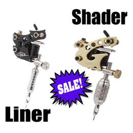 Wholesale 2 Top Handmade Danny Fowler Tattoo Machine Gun Kit Shader Liner for Power Supply Needle Ink A01