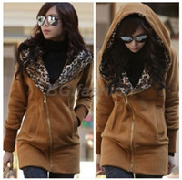 Wholesale Korea Women s Leopard Coat Hoodie Sweatshirt Hooded Jackets Tops Long Sleeved COLORS available