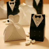 Favor Boxes boxes for wedding dress - Bridal Gift Cases Groom Tuxedo Dress Gown Ribbon Wedding Favor Candy Box For Wedding Party Favor
