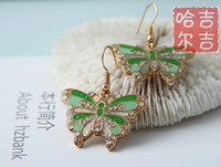 Wholesale New Butterfly Earrings Pairs Mixed Color and Style High Quality Fashion Earring Cloisonne Jewelry
