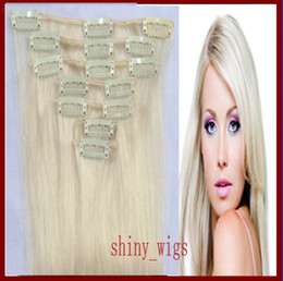 Wholesale 22 inch Clip in Hair Extensions g platinum blonde Color Remy Human Hair Extenisons