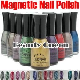 Wholesale New fashion Nail Art Magnetic Magnet Nail Polish Metallic color available FREE Magnetic Slice