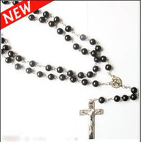 Wholesale Jesus Cross With Mother of God Rosary Necklace With Black Beads Silver Tone Necklaces For Men Women