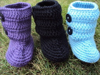 Crochet baby booties first walker shoes cotton yarn 2 button...