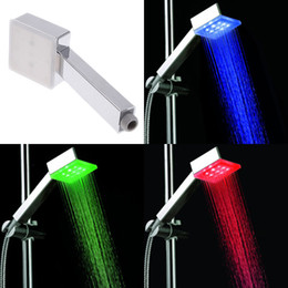 Wholesale Colorful Square Color Changing LED Shower Head Automatic light switching Sprinkler H4724