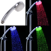 auto wall mount - Colorful LED Light Changing Nickle Polished Exposed Classic Round Water Saving Rainfall Bathroom Shower Heads H4725
