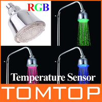 Wholesale Temperature Sensor Color LED Light Shower Head LED Temperature Control Lights Sprinkler H4740