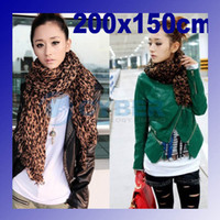 Wholesale HOT Fashion Larger Animal Leopard Print Shawl Scarf Wrap Stole Cotton Blends