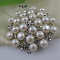 Wholesale nice brooch AA MM White color Genuine Freshwater pearl amp Stainless steel amp Rhinestone brooch A2253