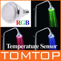 Wholesale Romantic Temperature Control Color LED Light Shower Head H4739 pc