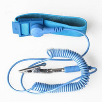 Wholesale PVC Anti Static ESD Safe Wrist Strap Discharge Band Grounding Cord w Clip Blue color