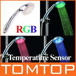 Wholesale 15 leds LED Water shower Temperature Control Colors flash led change bathroom shower head H4731