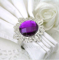 Wedding Table Decoration Napkins & Napkin Rings Acrylic Stone / Silver-tone Metal Rings FREE DHL shipping-Wholesale-150pcs high quality,Purple Gem Napkin Ring wedding favor