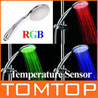 Wholesale LED Shower Light Temperature Control Color Changing Shower Head bathroom Led shower head H4733
