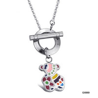 Party bearing slide - 316L STAINLESS STEEL LOVELY BEAR CANDY PENDANT WITH CHARM NECKLACE AS A GIFT FOR GIRLS JEWELRY