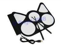 Wholesale 2pcs USB PC Digital Electronic Roll up Drum Pads Kit Stick