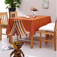 Wholesale Cotton Table cloth orange red Stripe Pastoral Mixed