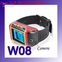Wholesale 2GB card for free W08 Watch Cellphone with bluetooth Camera One card Quad band FM Radio MP3 weil