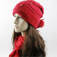 Wholesale Women cute winter fur knit wool hats Beanie Skull Caps B11106