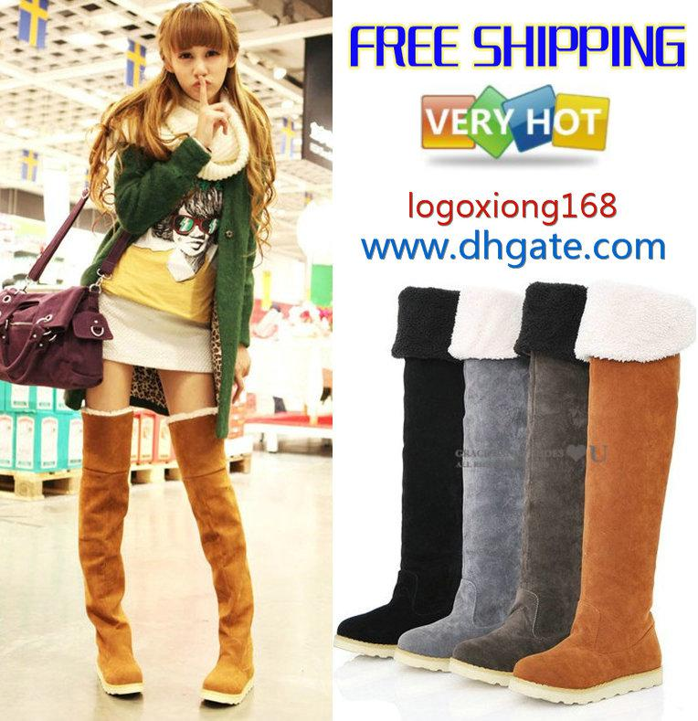 Women's Shoes,Over The Knee Boots,Suede Flat Boots Us4 11 Best ...