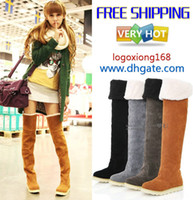 Wholesale Women s Shoes Over The Knee Boots Suede Flat Boots US4 Best Christmas Gifts logoxiong168