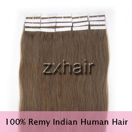 Wholesale 16 quot quot quot quot tape skin Indian remy human hair extensions chestnut brown set