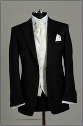 Wholesale Custom made Black Groom Tuxedos Wedding Groomsman Best man Suits Jacket Pants Tie Vest