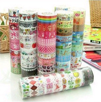 Wholesale 100 rolls M cute cartoon color tape stick color printed Stationery tape Office Adhesive Tape
