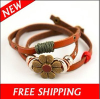 Wholesale Jewelry Bracelets Ethnic Hemp Chrysanthemum Flower Leather Bracelet Bangle Wristband