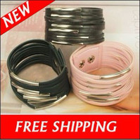 Wholesale Jewelry Bracelets Cuff Bracelet Bangle Wristband PU Leather Button Wristbands