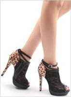 Wholesale New Sex Leopard lace Roman Ankle boots high heeled shoes fashion Lady shoes black