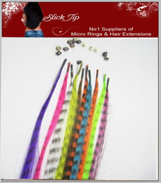 Wholesale 16 long Synthetic Grizzly Feather Hair Extension Feather Extensions pc mixed colors with beads
