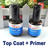 Wholesale 2 bottles Top Coat Primer Base Gel Dries With Any UV Light Nail Art UV Gel Polish ml
