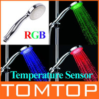 Wholesale Brand new bathroom Shower Head Temperature Sensor COLORS transformation LED LIGHTS shower H4735