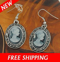 antique cameo earrings - Vintage Antique Cameo Earrings with Big Hoop Earring Jewelry