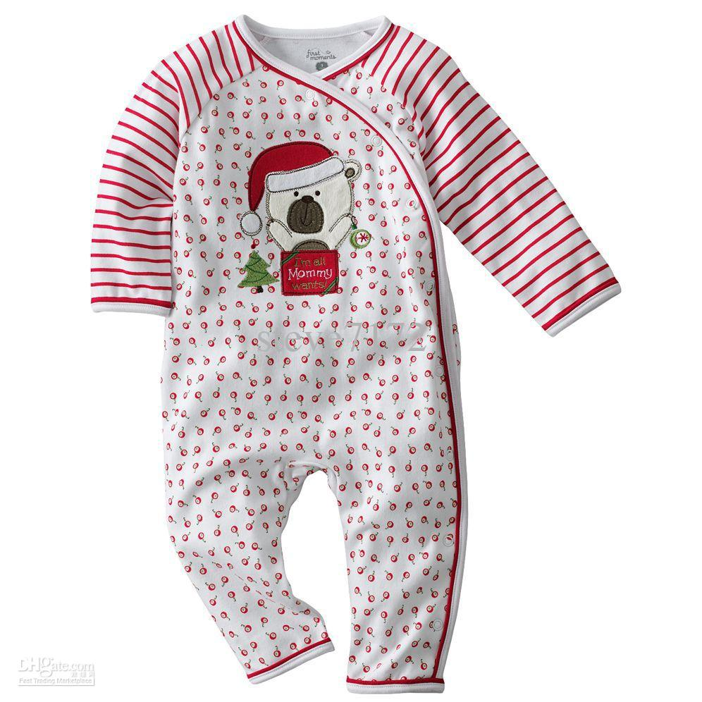 First Moments Baby Rompers Bodysuits Onesies Christmas Pajamas ...