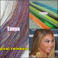 Wholesale Spiral Rainbow quot s package silk hair tinsel for hair extensions