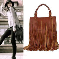 Wholesale Punk Tassel Fringe Womens Fashion pu Leather handbag Shoulder Bag brown Women s Tote bag B0008