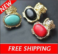 Solitaire Ring Bohemian Men's Vintage Gold Plated Bohemian Oval Gemstone Ring with Olive Blue Black Red Stone Rings Free Shipping