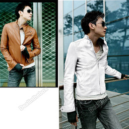 Wholesale New Korea Men Slim Fit Designed PU Leather Jacket SIZE Color Black Brown White