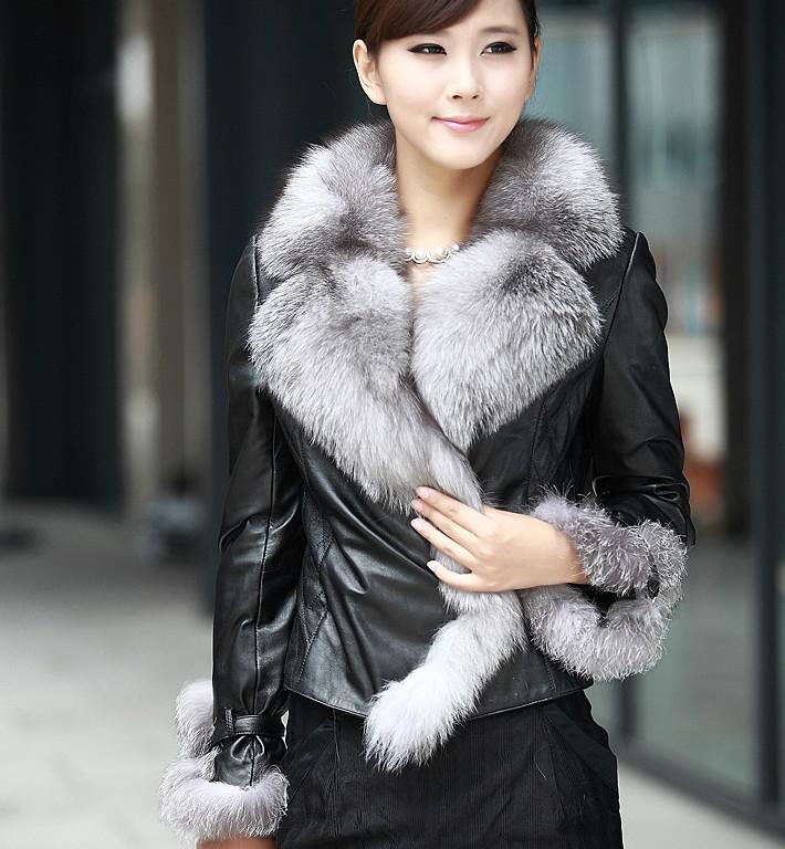 2014 Real Leather Fox Fur Collar Fur Women's Fur Coats / Women Fur ...