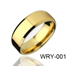 Wholesale 18K Gold Plated Rings Tungsten Rings Beveled Edges Tungsten Rings WRY Hot Sales