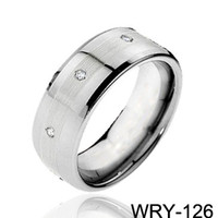 Wholesale Tri diamond rings Carbide Tungsten Rings fashion jewelry wedding bands for men engagement Rings