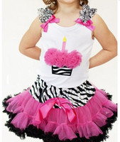 Wholesale hotsale girls tutu pettiskirts zebra cupcake tops girls rosette tutu tops
