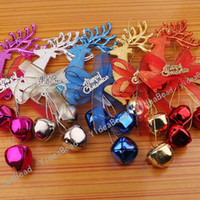 Wholesale 10pcs Mixed Christmas Tree Decoration Santa Reindeer Charms Pendants Merry Christmas Bell